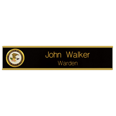 UNICOR Shopping: Desk Plate Holder With BLUE/WHITE Name Plate